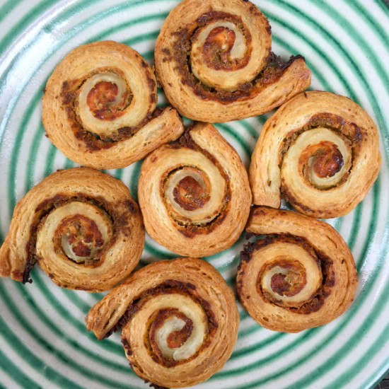 Puff pastry goat cheese spirals from The Everyday Baker on eatlivetravelwrite.com