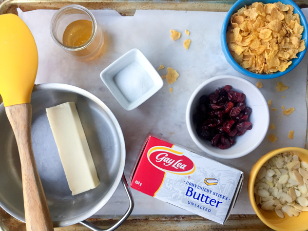 Gay Lea butter ingredients for cranberry almond crunch cookies on eatlivetravelwrite.com