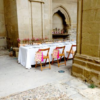 Wedding setup in a church in Viana walking the Camino with Caminon Travel Center on eatlivetravelwrite.com