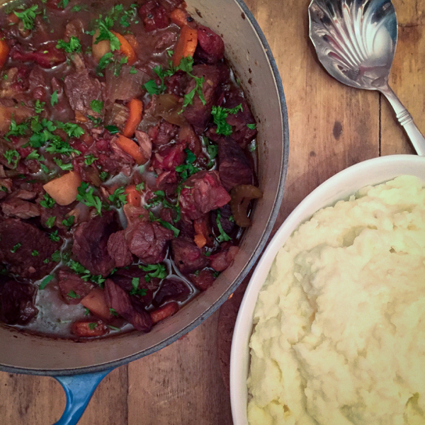Red wine beef stew with parsnips and carrots and parsnip and potato mash from Food 52 A New Way to Dinner on eatlivetravelwrite.com