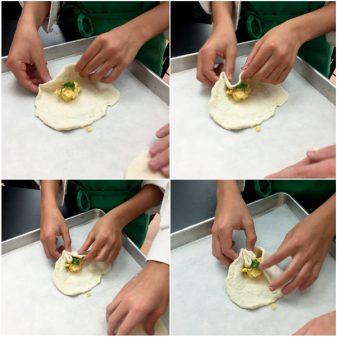 Kids pleating Georgian cheese-filled quick breads on eatlivetravelwrite.com