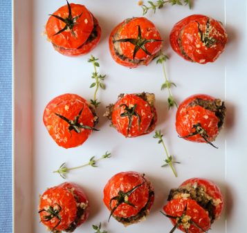 Mini tomates farcies with mushrooms and sausage by Mardi Michels