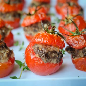 Tomates farcies stuffed with mushroom and sausage by Mardi Michels