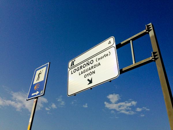 Signs for Logrono on the Camino de Santiago with Camino Travel Center on eatlivetravelwrite.com