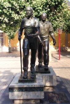 Pilgrim statue on the Camino de Santiago with Camino Travel Center on eatlivetravelwrite.com