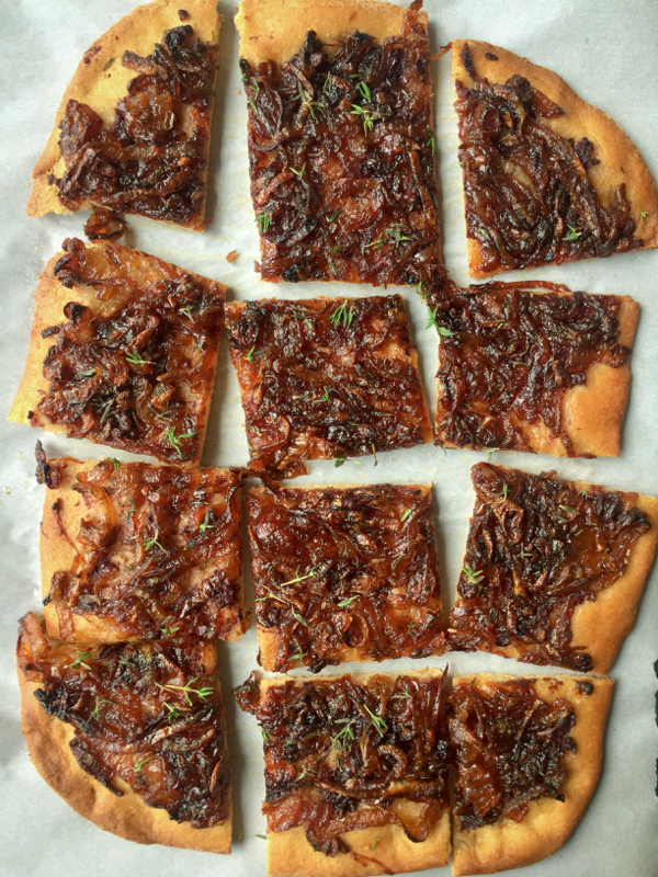 Slices of David Lebovitz onion tart from My Paris Kitchen on eatlivetravelwrite.com