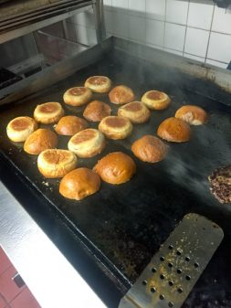 Burger buns toasting at Lisa Marie on eatlivetravelwrite.com