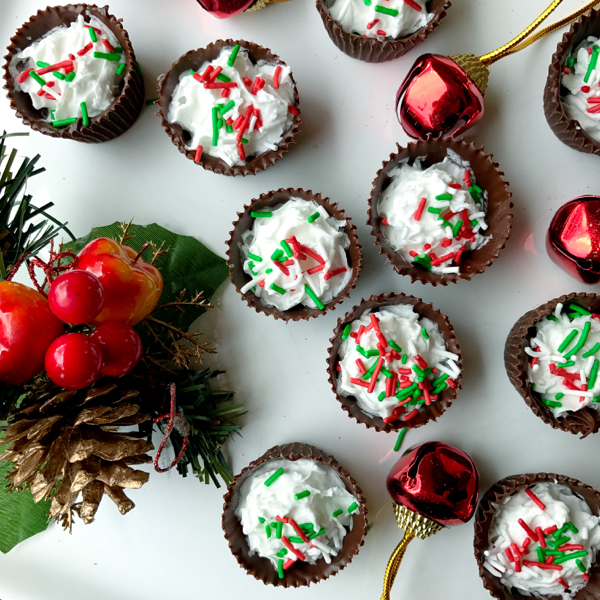 Gay Lea Real Coconut Whipped Cream filled festive chocolate cups and sprinkles on eatlivetravelwrite.com