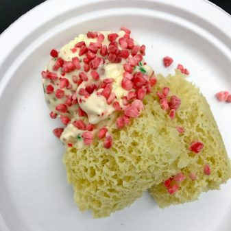 1 Gingerbread micro sponge with liquid nitrogen candy cane ice cream and raspberry niblets with John Placko on eatlivetravelwrite.com