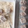 Dipping mini lamingtons in coconut on eatlivetravelwrite.com