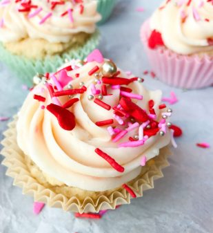 National Cupcake Day 2017 Strawberry yoghhurt cupcakes with strawberry cream cheese frosting image on eatlivetravelwrite.com