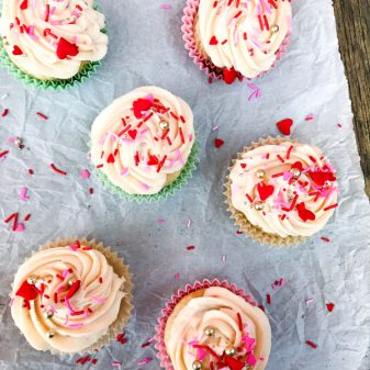 National Cupcake Day 2017 Batch of Strawberry yoghhurt cupcakes with strawberry cream cheese frosting image on eatlivetravelwrite.com