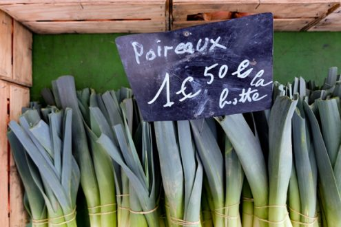 Poireaux at the market in Lyon image on eatlivetravelwrite.com