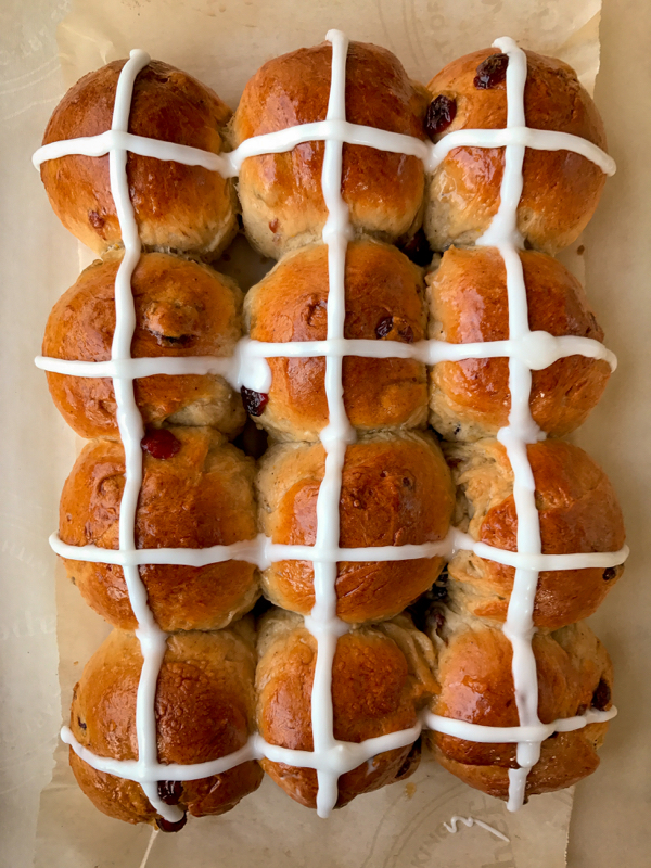 Cranberry orange hot cross buns image on eatlivetravelwrite.com