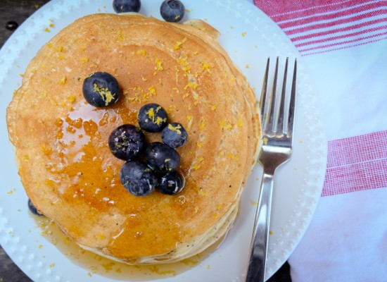 Pancakes with Nordica smooth lemon cottage cheese and blueberries on eatlivetravelwrite.cm