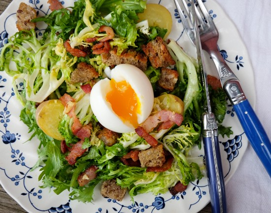 Frisee salad with bacon, egg, and garlic toasts from My Paris Kitchen on eatlivetravelwrite.com