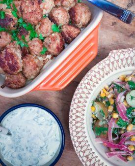 Meatballs, yoghurt dip and potato salad from Scandinavian Comfort Food: Embracing the Art of Hygge on eatlivetravelwrite.com