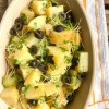 Carisma microgreen potato salad on eatlivetravelwrite.com
