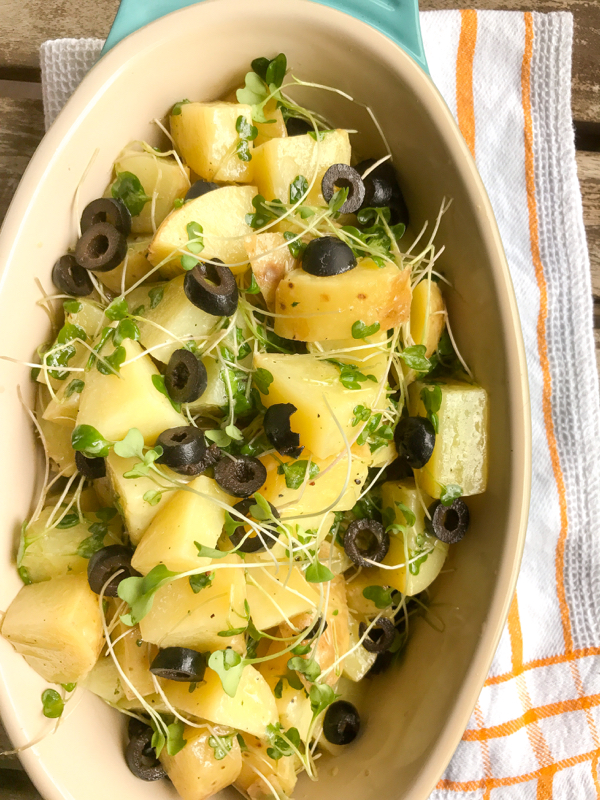 Carisma microgreen potato salad on eatlivetravelwrite.com