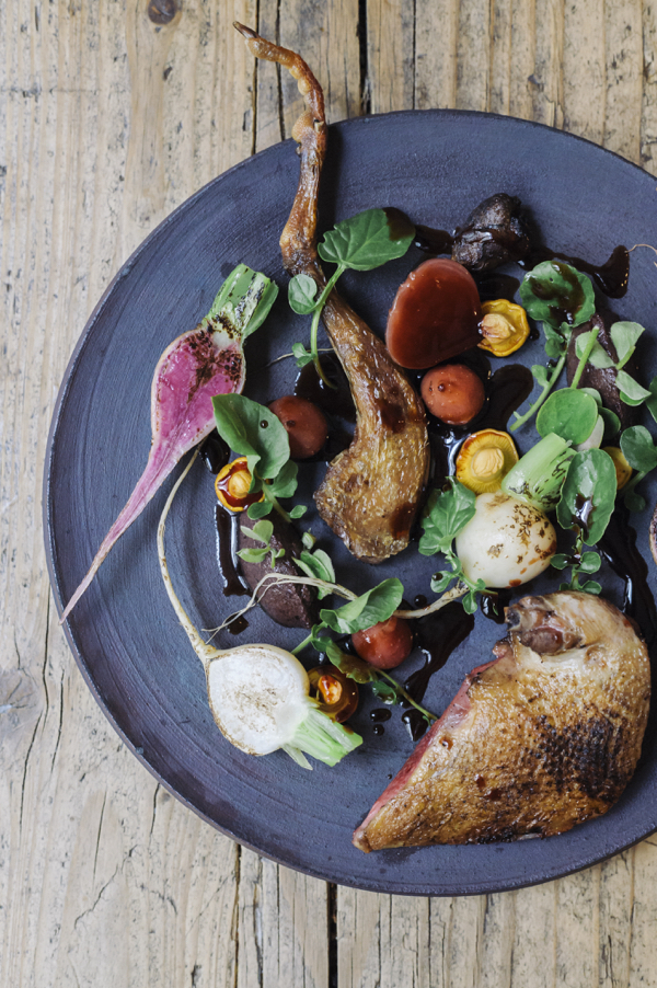 Roasted pigeon, girolle mushrooms, radishes, beetroot and hibiscus beetroot sauce at Dersou.