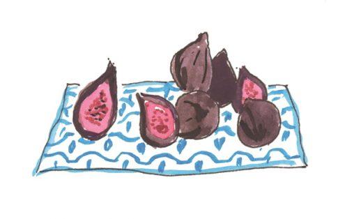figs on cloth napkin from Dinner Chez Moi on eatlivetravelwrite.com