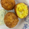 Cheese filled arancini image on eatlivetravelwrite.com