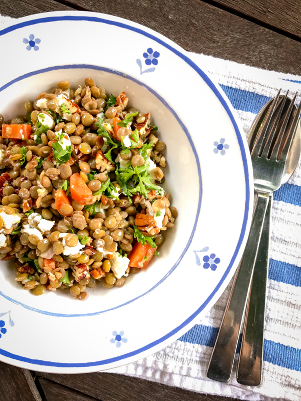 Lentil salad with goat cheese and walnuts from My Paris Kitchen on eatlivetravelwrite.com