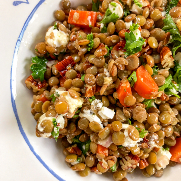David Lebovitz Lentil salad with goat cheese and walnuts from My Paris Kitchen on eatlivetravelwrite.com