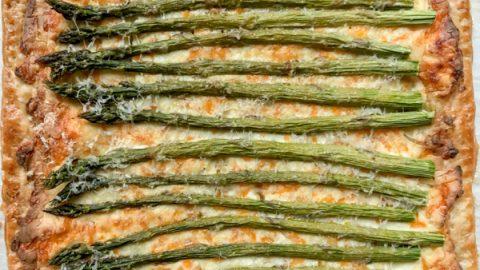Easy puff pastry asparagus tart on eatlivetravelwrite.com