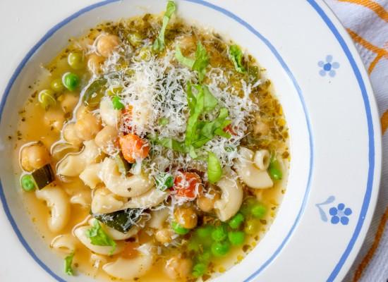 David Lebovitz vegetable soup with pesto on eatlivetravelwrite.com