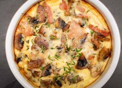 Mushroom and Bacon Clafoutis by Mardi Michels eatlivetravelwrite.com