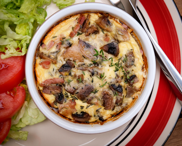 Bacon and Mushroom Clafoutis on eatlivetravelwrite.com