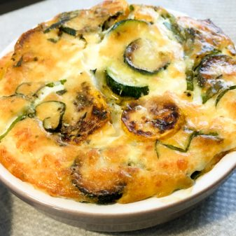 Zucchini and goat cheese clafoutis straight out of the oven on eatlivetravelwrite.com