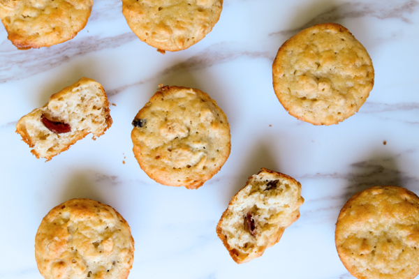 Mini oat muffins with cranberries on eatlivetravelwrite.com