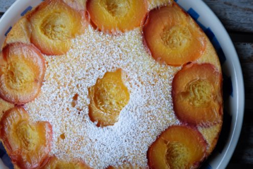 Peach cake with Nordica Smooth Plain and peaches on eatlivetravelwrite.com
