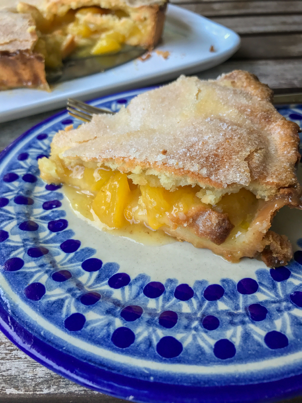 Slice of Dorie Greenspan Brown Butter Peach Tourte