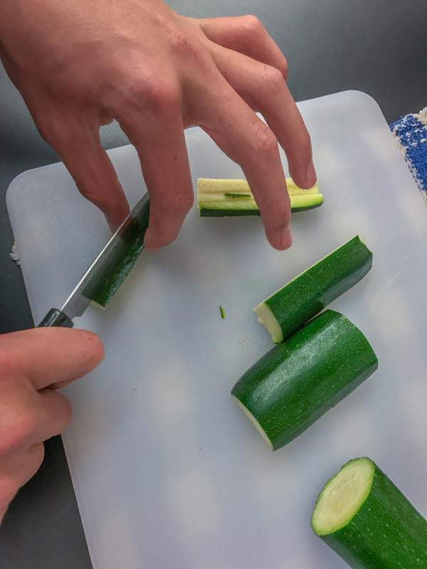 Matchsticking zucchini for Jamie Oliver Lemony Courgette Linguine on eatlivetravelwrite.com