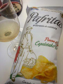 Rioja and chips on Camino de Santiago on eatlivetravelwrite.com
