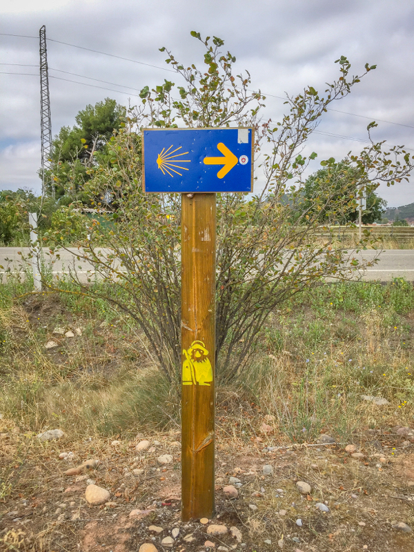 Pilgrim signs on the Camino de Santiago from Navarrete to Najera on eatlivetravelwrite.com