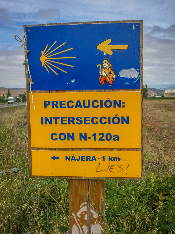 Intersection sign on the Camino de Santiago from Navarrete to Najera on eatlivetravelwrite.com