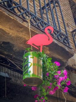 Innovative flower pots in Najera on the Camino de Santiago on eatlivetravelwrite.com