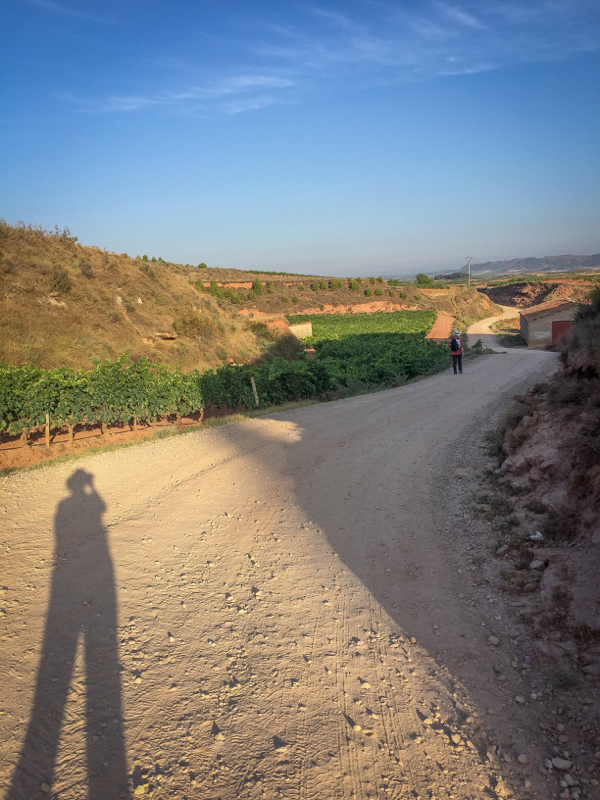 Long shadows leaving Najera on the Camino de Santiago on eatlivetravelwrite.com