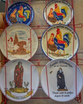 Souvenir plates in Santo Domingo de la Calzada on the Camino de Santiago on eatlivetravelwrite.com