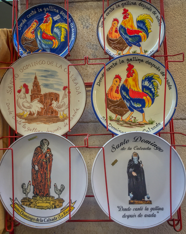 Souvenir plates in Santo Domingo de la Calzada on the Camino de Santiago on eatlivetravelwrite.com