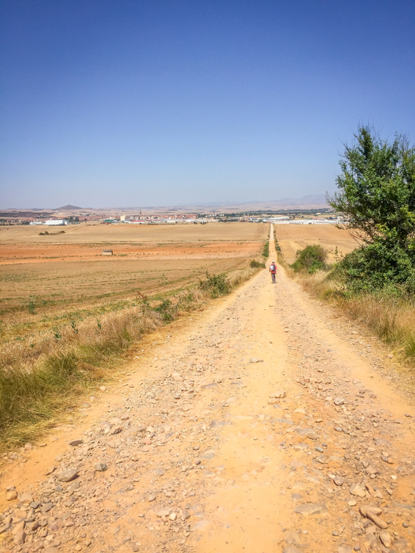 Santo Domingo de la Calzada in sight on the Camino de Santiago on eatlivetravelwrite.com