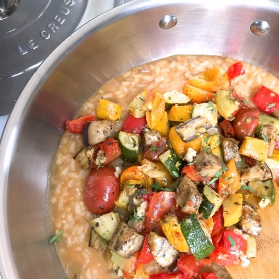 Ratatouille Risotto made in Le Creuset Saucier on eatlivetravelwrite.com