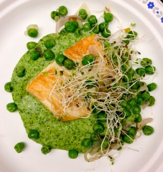Pan fried Pacific Halibut with spinach and pea puee and sauteed peas on eatlivetravelwrite.com