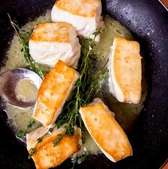 Pan fried Pacific Halibut from De La Mer on eatlivetravelwrite.com