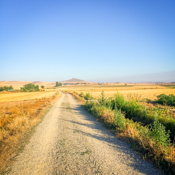 Blue skies leaving Santo Domingo de la Calzada on the Camino de SAntiago on eatlivetravelwrite.com