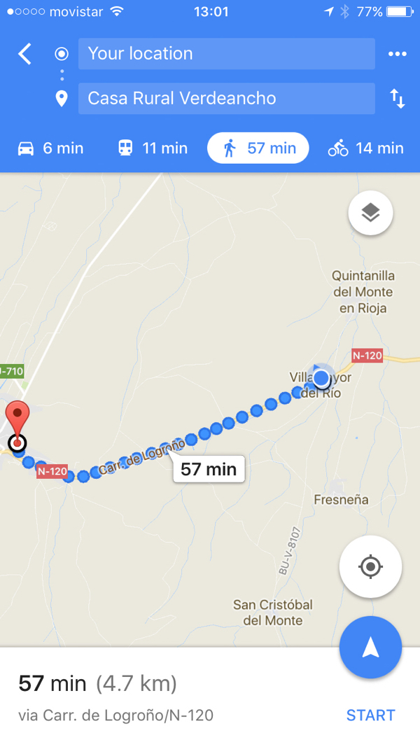 Checking Google Maps again on the Camino de SAntiago on eatlivetravelwrite.com